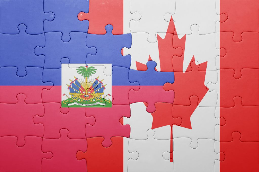 puzzle and image of the flags of Canada and Haiti