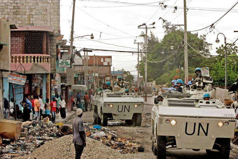 Peacekeepers conduct a patrol in the volatile neighborhood of Bel Air